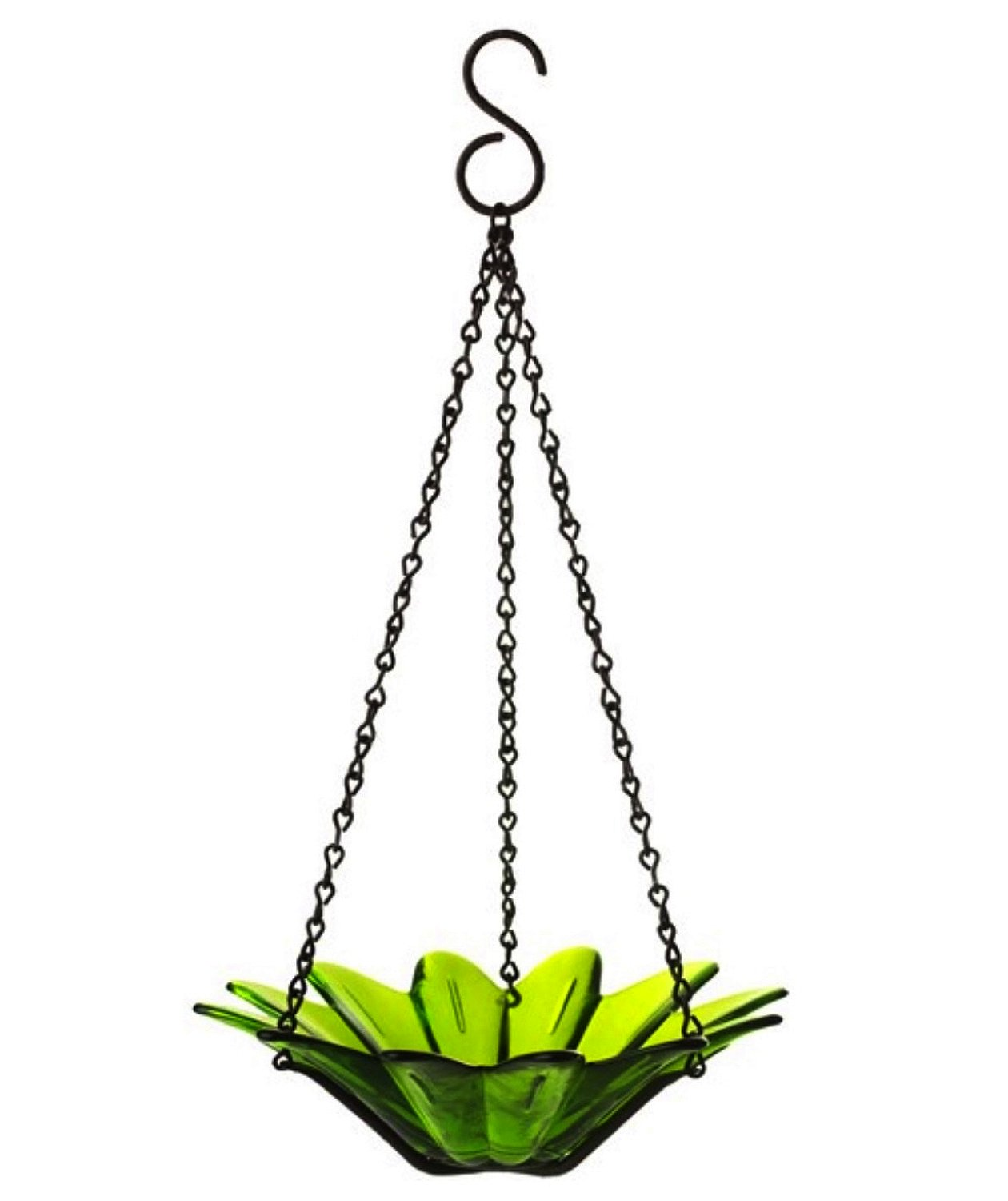 Hanging Colored Glass Bowl Bird Feeder Garden Home Accent 1pc G96 Green Recycled Eco-Friendly Colored Glass Bowl with Black Powder Coated Chain for Garden, Kitchen and/or Home Decor.
