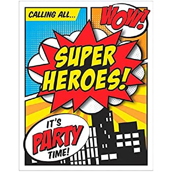 Amscan 494154 Superhero Large Novelty Invites Party Supplies 6 X 4 Multicolor