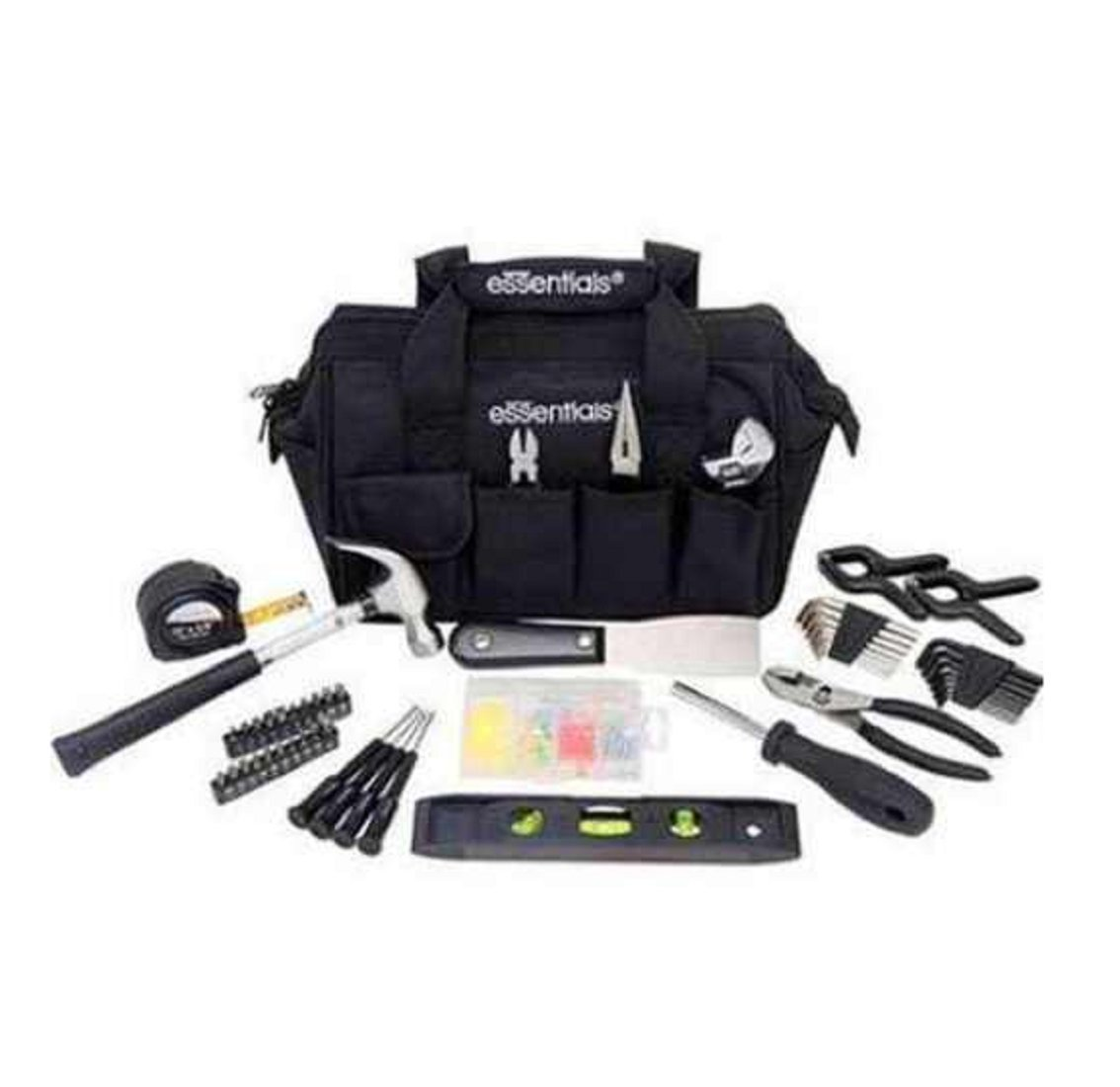 NEW Essentials 53 pc Around the House Tool Kit Mechanics Black Bag piece Set Men