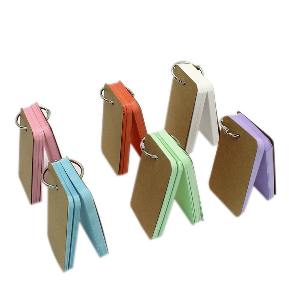 Blank Flash Cards,Aimeio Colorful Kraft Paper Study Card Vocabulary Word Card Memo Notes Card with Binder Ring,6 Pack 300 Pieces Assorted Colors,3.5x2.2''