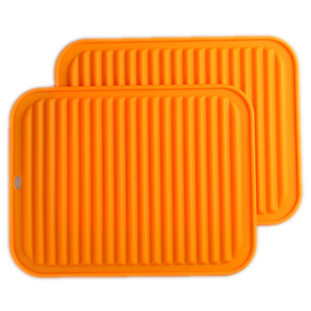 "Silicone Trivets Mat Set of 2 Smithcraft 9""X12"" Big Multi-purpose Drying Trivet Mat, Pot Holder, Waterproof, Non Slip, Flexible, Durable, Dishwasher Safe Orange"