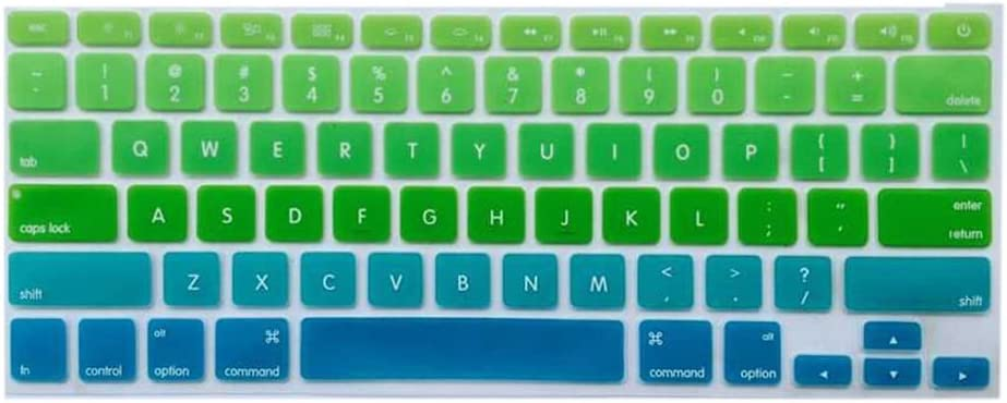 YoBest Silicone Keyboard Cover protector Skin for Apple Macbook Pro MAC 13 15 17-Green and Blue