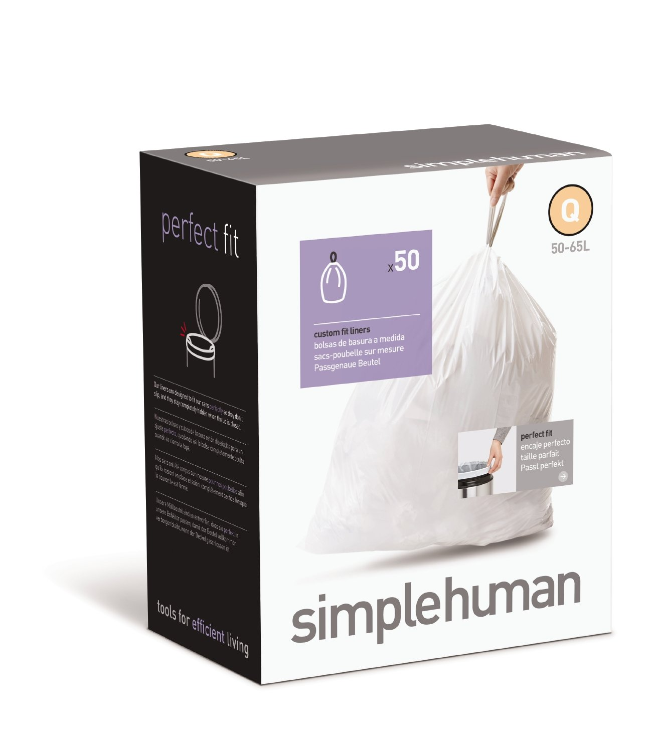 Amazon.com: simplehuman Custom Fit Trash Can Liner Q, 50-65 L / 13-17 Gal,  50-Count Box: Home & Kitchen