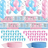 Gender Reveal Party Decorations. Pink and Blue Balloons and Crepe Streamers, Hanging Swirls, 12 foot Foil banner with Boy or Girl, 50 Adorable Stickers Split Between Blue and Pink