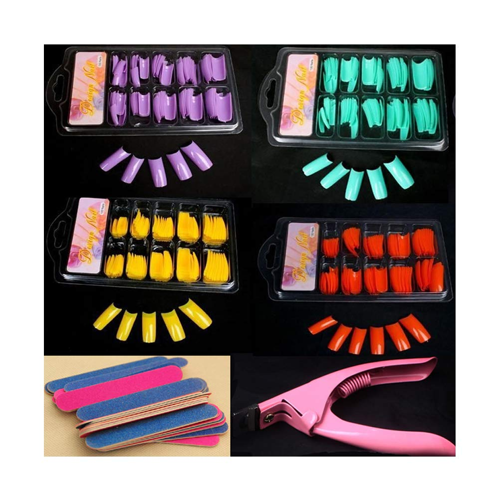 4coulors False Acrylic Gel French 100 PCS Full Nail Art Tips+Cutter+ Nail Files (purple+green+yellow+orange) by decoyourbeautylife