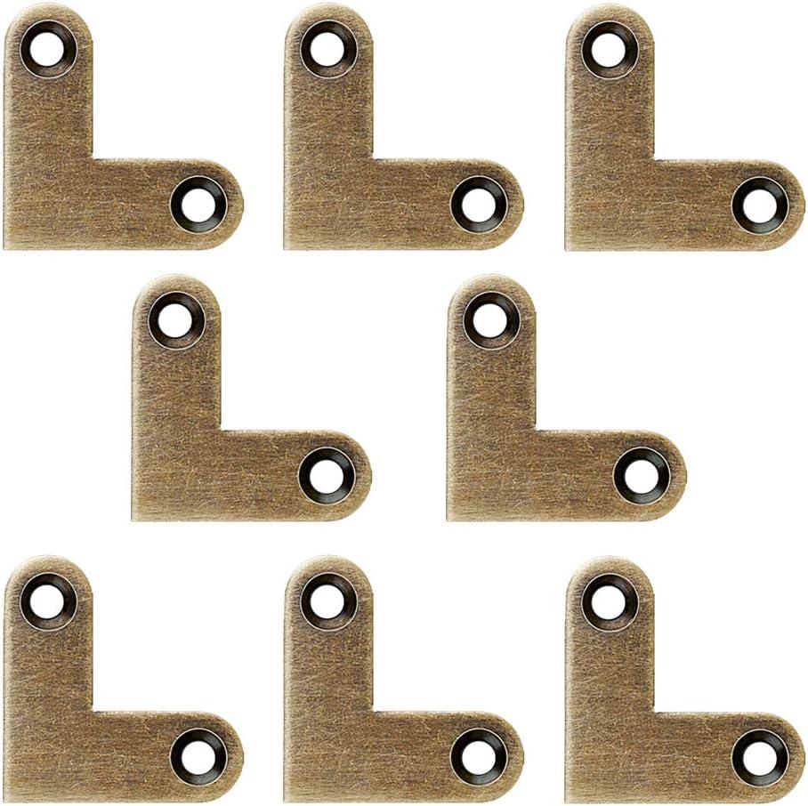 Tiazza 8Pcs Antique L Shape Brass Flat Corner Bracket Joint Flat Corner Brace Plate Support Drawer Fixed Corner Code (Antique Bronze)