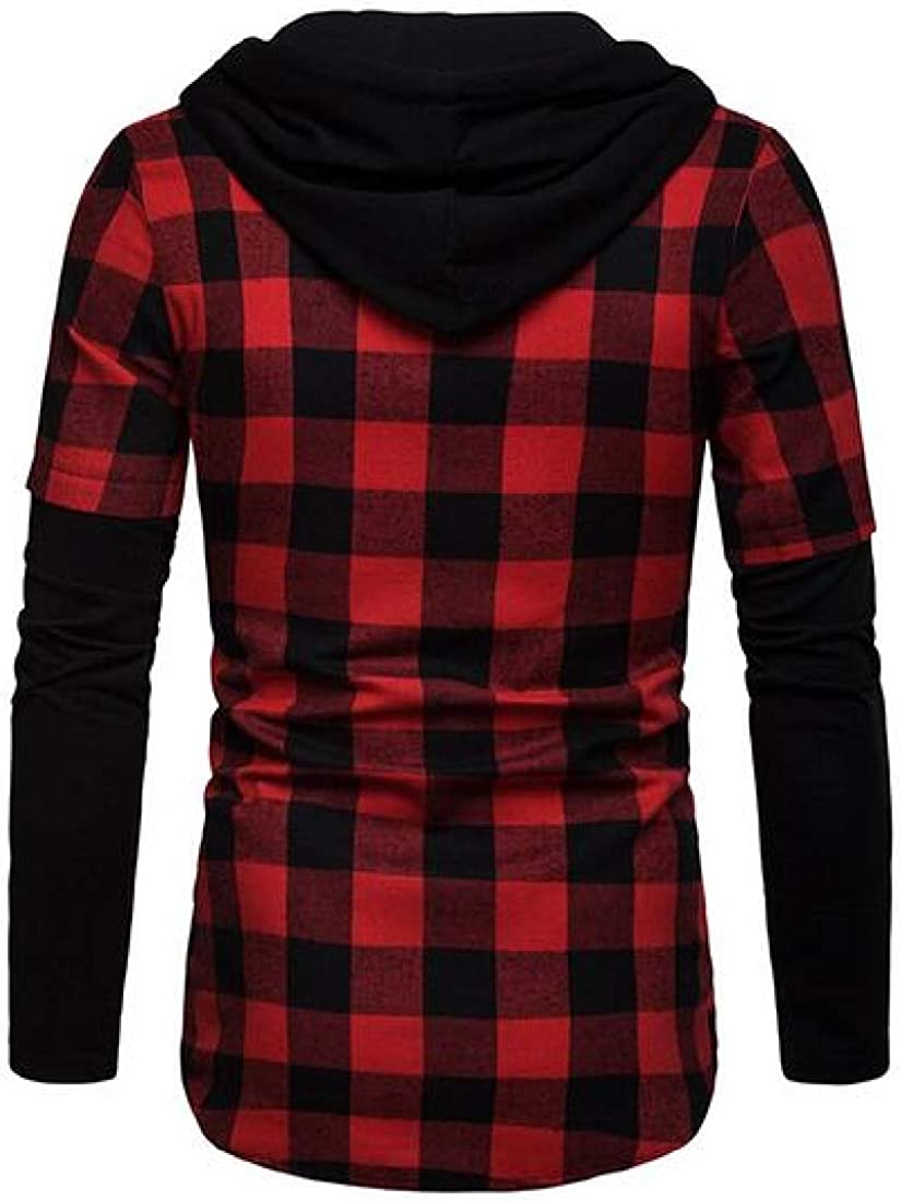 YYear Mens Plaid Plus Size Long Sleeve Hoodie Dress Flannel Checkered Shirt