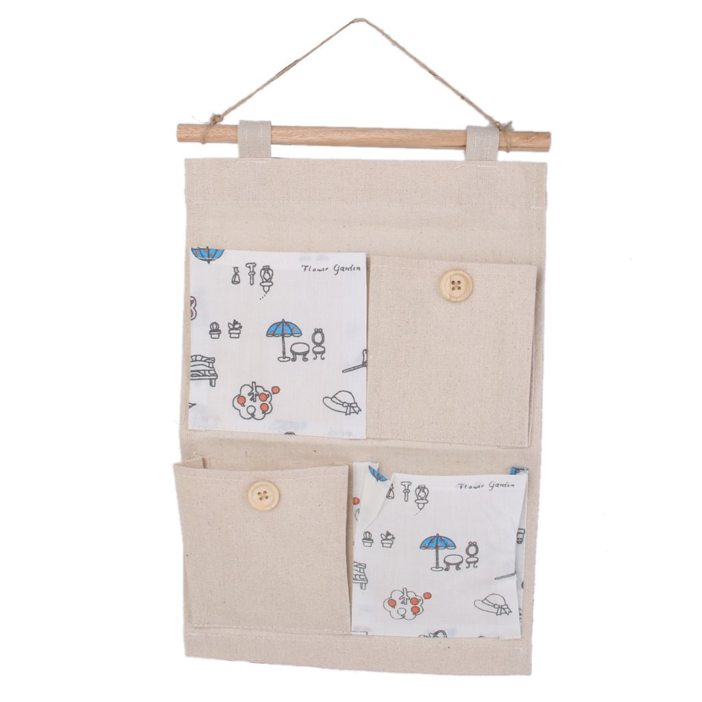 Wall Door Hanging 4 Pockets Storage Bag Organizer Holder -Umbrella pattern Generic