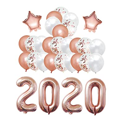 Playeasy 2020 Balloons graduation party supplies New Year's Decorations - 40 inch 2020 Foil Balloons Kit Latex Confetti Balloons for Wedding Bridal Shower: Toys & Games