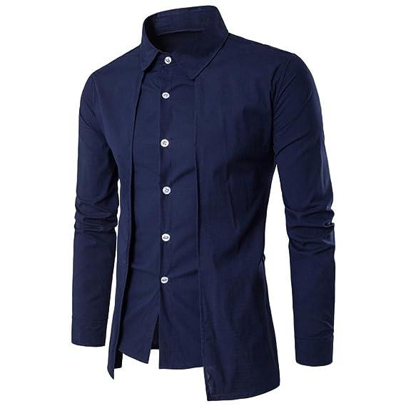 feiXIANG Camiseta de Hombre de Moda Camisa de Vestir Camiseta Solid Color Tops Blusa (Azul