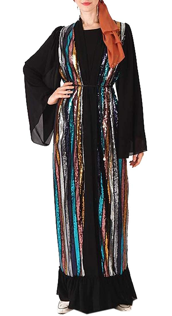 BYWX Women Middle East Glitter Sequins Stripe Muslim Open Front Cardigan Robe Dress