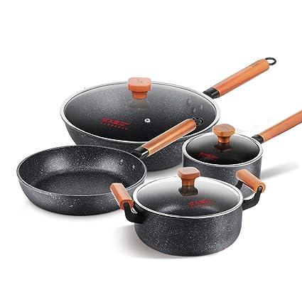 Juego de utensilios de cocina antiadherente Wok antiadherente con revestimiento de piedra de 4 piezas, sartén para ollas ...