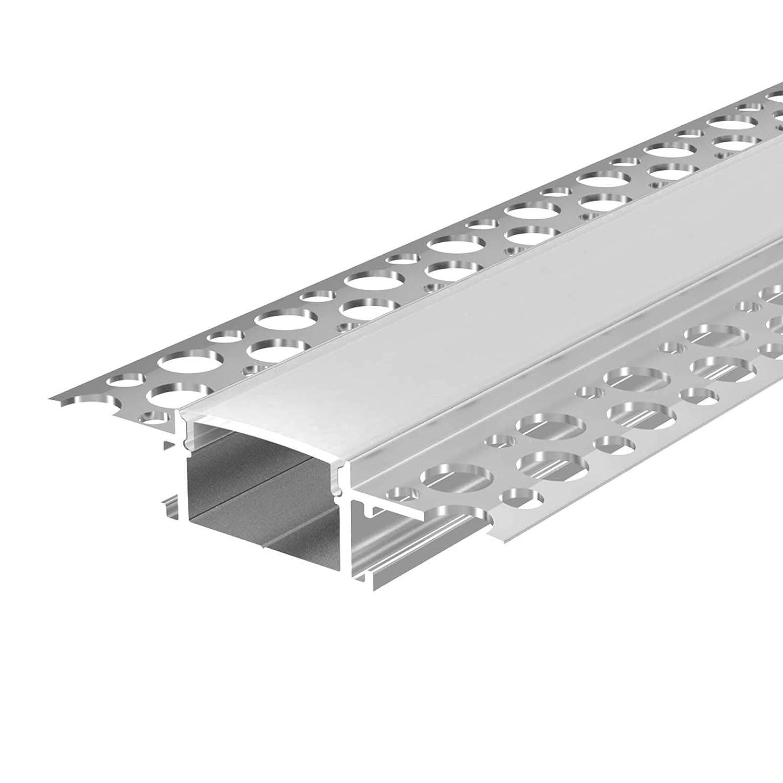 2m x B 1,40cm 1,30cm x H Aluprofil f/ür Stripes bis 10,5mm Breite Alu Kanal f/ür LED Streifen Acryl Abdeckung milchig-wei/ß L 2x Endkappen FEDA U-Profil Aluminium LED eloxiert