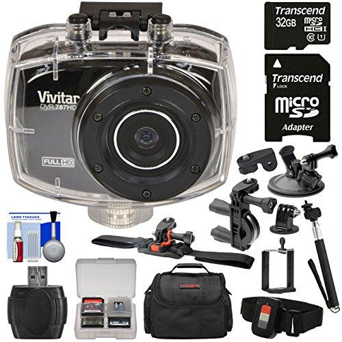 Vivitar DVR787HD 1080p HD Waterproof Action Video Camera Camcorder (Black) with Remote, Helmet, Bike & Suction Cup Mounts + 32GB Card + Case + Selfie Stick Kit