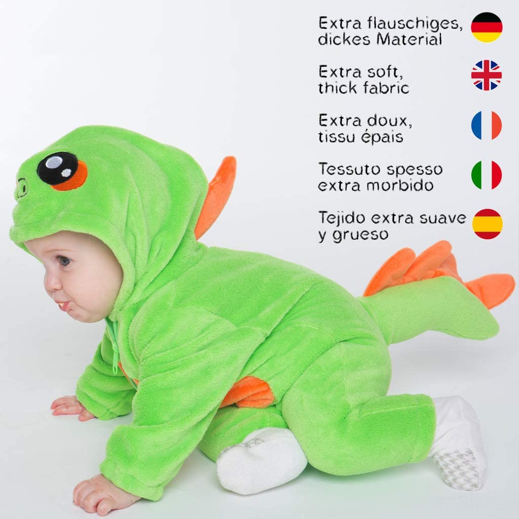 Gr/ün 60-70 cm corimori 1850 Byte der Dinosaurier Baby Neugeborenen Onesie Jumpsuit Strampler Anzug Kost/üm Verkleidung