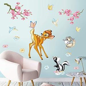 decalmile Woodland Animals Wall Stickers Deer Squirrel Birds Flowers Wall Decals Kids Room Baby Nursery Wall Decor