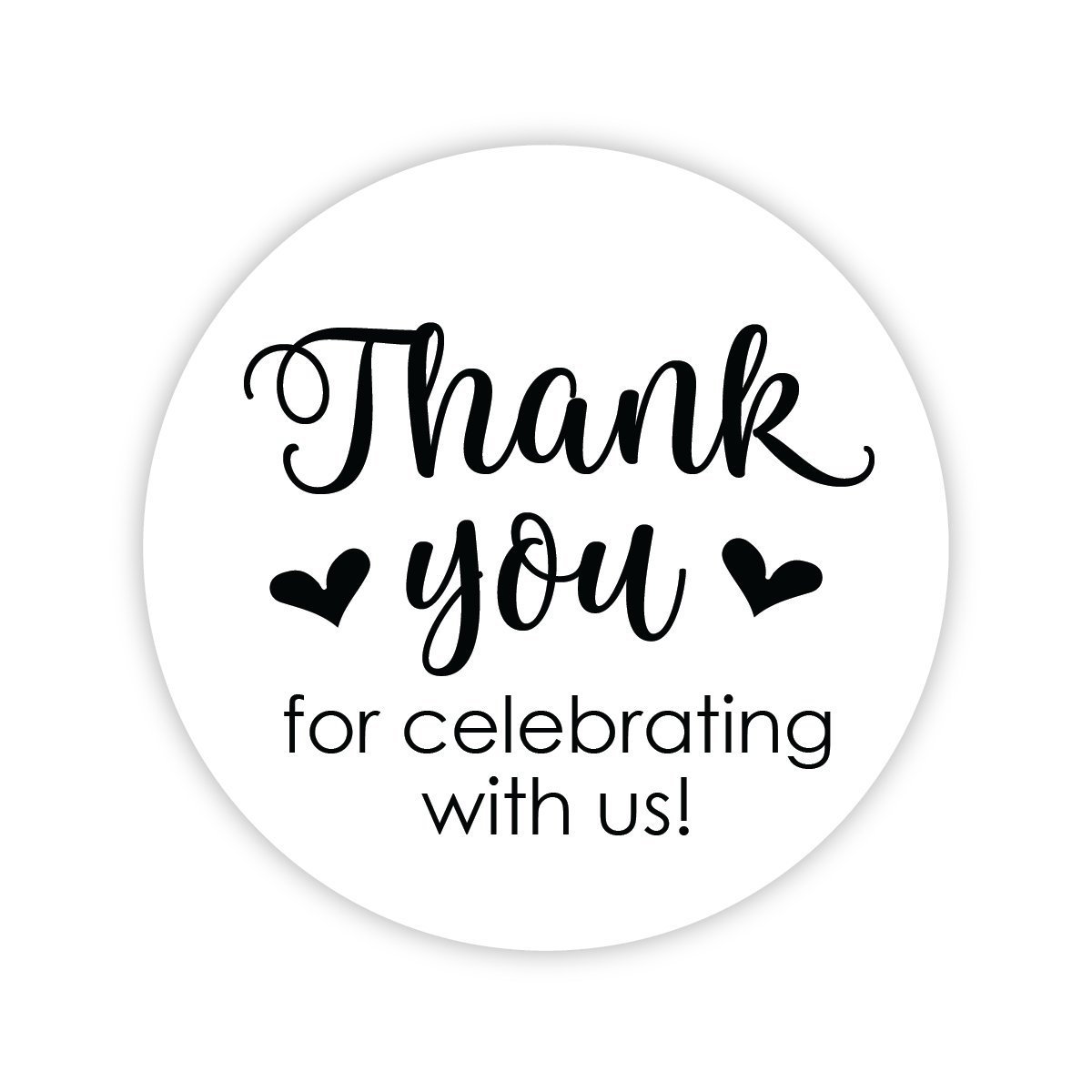 Thanks for Celebrating With Us Stickers, Wedding and Event Favor Labels (#265-BK)