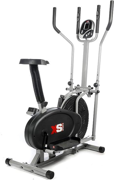 Bicicleta 2 en 1 estática y elíptica de Pro Xs Sports, para entrenamiento, ejercicio, fitness, cardiovascular, perdida de peso, aparato con asiento y sensores de pulso y frecuencia cardíaca: Amazon.es: Deportes y