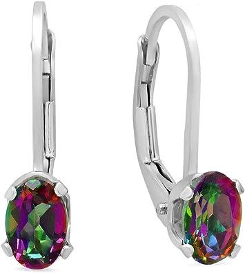 Topaz Leverback Hoop Earring in Sterling Silver