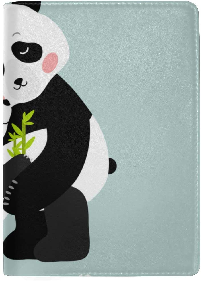 Funny And Touching Panda Wants To Hug Blocking Print Passport Holder Cover Case Travel Luggage Passport Wallet Card Holder Made With Leather For Men Women Kids Family