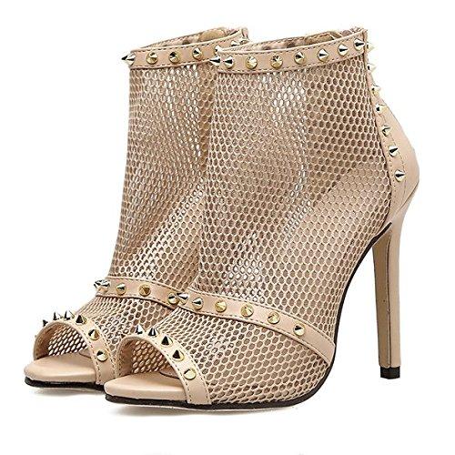 KPHY Ausgehöhlt Sexy Zehen Dünnen Absätzen Mode Nieten 11Cm 11Cm 11Cm Wild Dünn High Heels Coolen Stiefel. Apricot color 00c559
