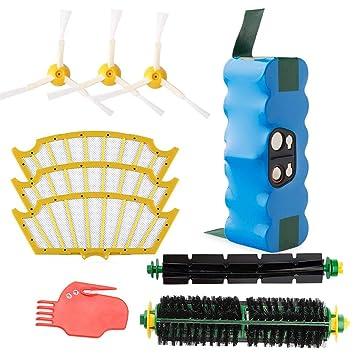 efluky 4.0Ah batería de Repuesto para irobot roomba + Kit cepillos repuestos para iRobot Roomba Serie 500 505 510 520 530 535 536 540 545 550 552 560 ...