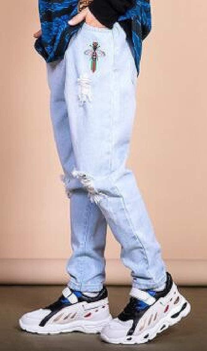 Hajotrawa Big Boys Ripped Denim Elastic Waist Jeans Pant