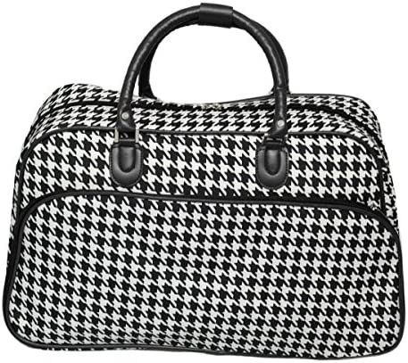World Traveler 21-Inch Carry-On Shoulder Tote Duffel Bag, Black Trim Houndstooth, One Size