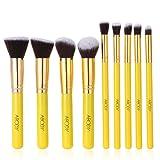 Abody 9Pcs Makeup Brush Kit Wood Professional Cosmetic Set Foundation Brush Powder Brush Eyeshadow Brushes Yellow