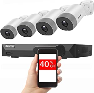 PoE Security Camera System, TIRUMIO 8CH 5MP(2.5x1080P) Wired Home Surveillance PoE NVR System with 4pcs 5MP Super HD Outdoor Cameras,IP67 Weatherproof,100ft Night Vision,Motion Detect,No Hard Drive