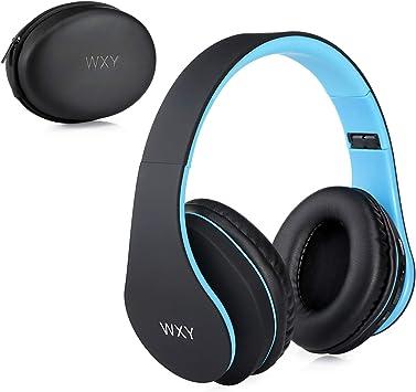 Audífonos inalámbricos Bluetooth sobre la oreja, WXY auriculares inalámbricos V5.0 con micrófono, plegables y ligeros,