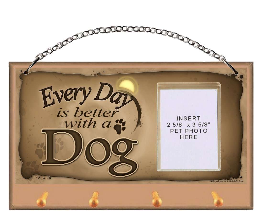 Dog ''Every Day is Better With a Dog'' Key and Leash Holder featuring Clear Pocket to Insert Your Photo