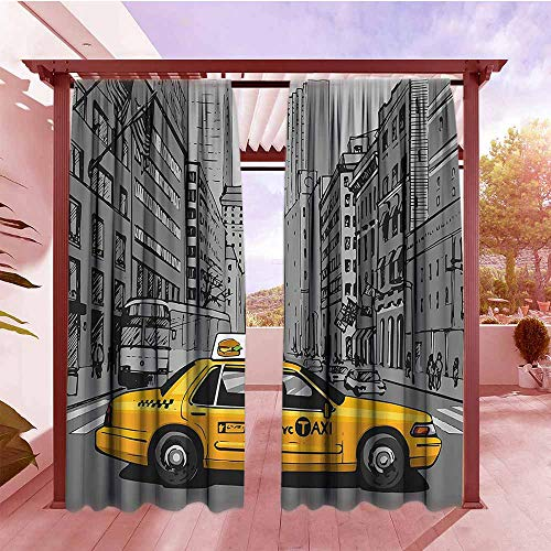 DGGO Outdoor Rod Pocket Curtains American New York City Metropolitan Buildings and Taxi Cartoon Sketchy Image Outdoor Privacy Porch Curtains W108x84L Charcoal Grey and Yellow