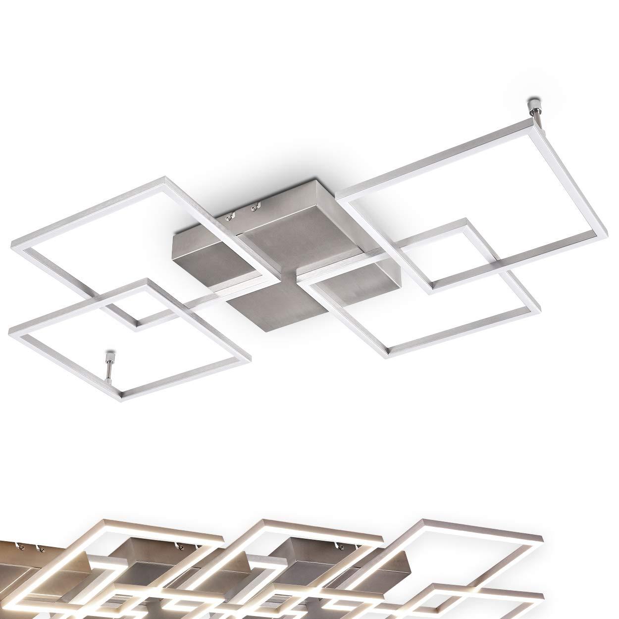 LED Deckenleuchte Veyrier stufenlos dimmbar aus Metall in Stahl Stahl Stahl gebürstet, LED Zimmerlampe im futuristischen Design, 4-flammige Wohnzimmerlampe, 3000 Kelvin, 1800 Lumen, Deckenlampe, Flurlicht b46f60