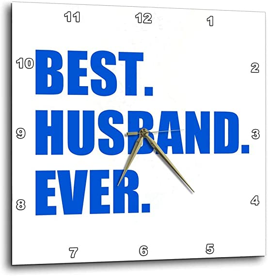 3dRose Dark Blue Best Husband Ever-Bold Text Design Romantic Gifts for him-Wall Clock, 10-inch DPP_179726_1