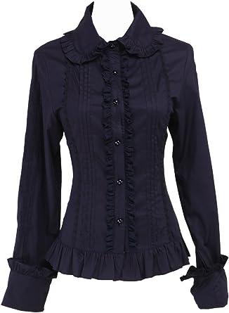 an*tai*na* Negra Algodón Volantes Encaje Classical Retro Gotica Lolita Camisa Blusa de Mujer: Amazon.es: Ropa y accesorios