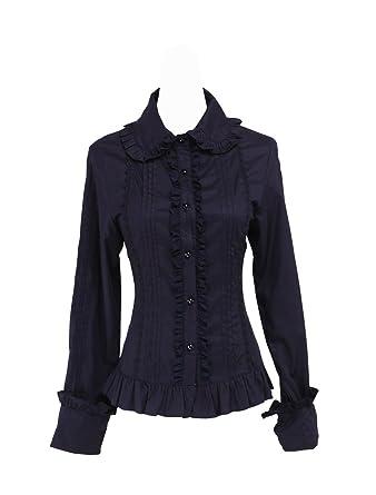 864a2ca89a78a9 Antaina Schwarz Baumwolle Rüsche Spitze Klassisch Retro Gothic Lolita Hemd  Bluse, XS,MEHRWEG