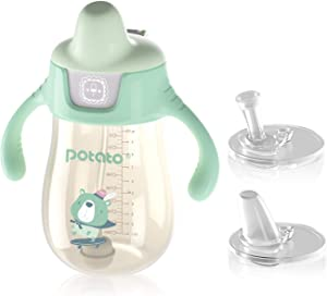 POTATO Sippy Cups For Toddlers with Straw Spill Proof, PPSU Learner Cup with Handle for Babies, Water Bottle for Baby 12 Months with 2 Type of Spout, 10 Ounce Green