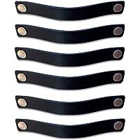 Brute Strength - Leren Handgrepen - Zwart - 6 stuks - 25 x 3 cm - incl. 3 kleuren schroeven per leren handvat voor…