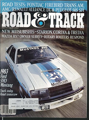 Road   Track Ford Mustang Renault Alliance Peugeot 505 Pontiac Firebird   9 1982