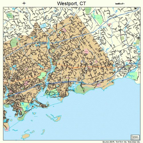 Large Street & Road Map of Westport, Connecticut CT - Printed poster size wall atlas of your home - Westport Ct Images