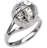 Star Wars Death Star Ring Women's CZ Crystal Silver Stainless Steel Engagement Style
