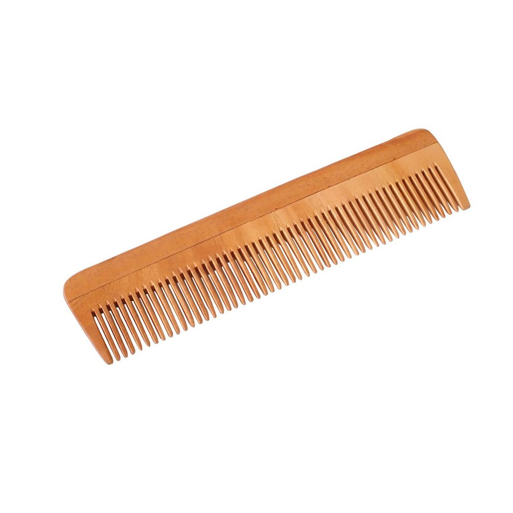 HealthAndYoga(TM) Handcrafted Neem Wood Comb - Anti Dandruff, Non-Static and Eco-friendly- Great for Scalp and Hair health -7 Fine toothed Soulgenie