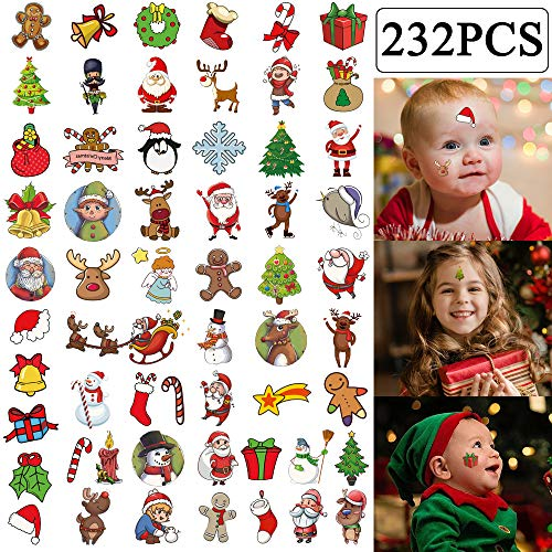 232PCS Christmas Temporary Tattoos Stocking Stuffers - Holiday/Xmas Party Favor Bags Kids Goodie Gift Bags Favors(18sheet)