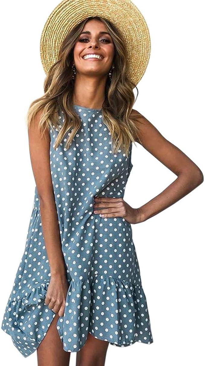 Freizeitkleider Damen Knielang Sommer Tunika Kleid Strandkleid