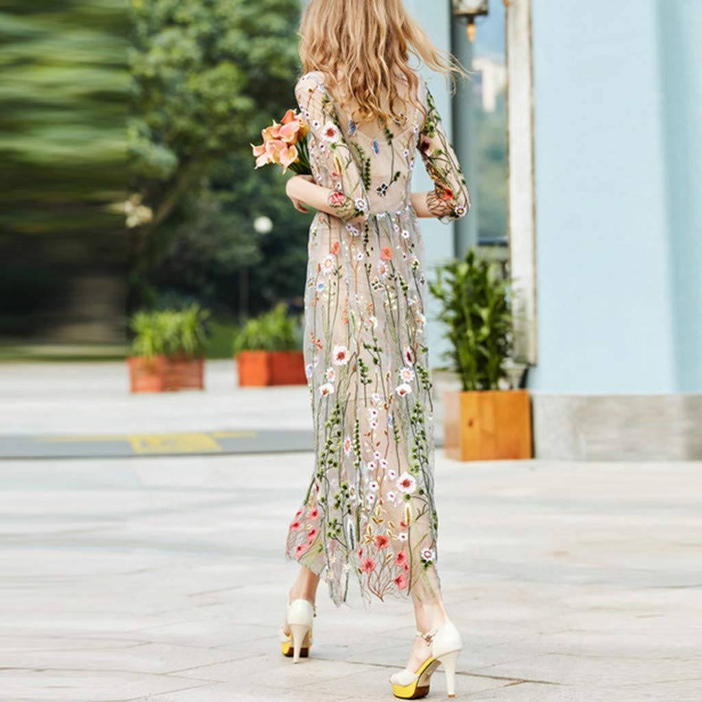 Onegirl Women's Fashion Floral Embroidered Dresses Mesh Half Sleeves Sheer Two-Piece Evening Party Dress Beige by Onegirl-dress (Image #4)