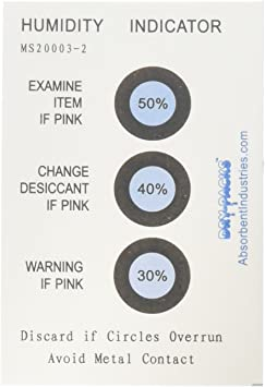 10 Card Pack 30-50/% 3 Spot Humidity Indicator Cards