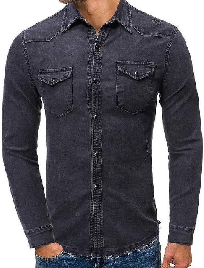 Suncolor8 Men Print Slim Fit Button Up Long Sleeve Dress Work Shirt