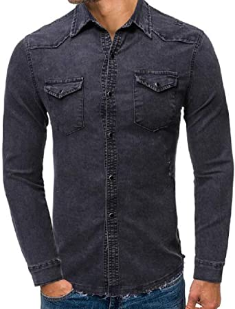 Fensajomon Men Casual Long Sleeve Checkered Regular Fit Cut Off Button up Dress Shirt