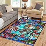 InterestPrint Floor Rugs Mat Custom Stained Glass Window Area Rugs Modern Carpet for Home Dining Room Living Room Decoration Size 5'x3'3''